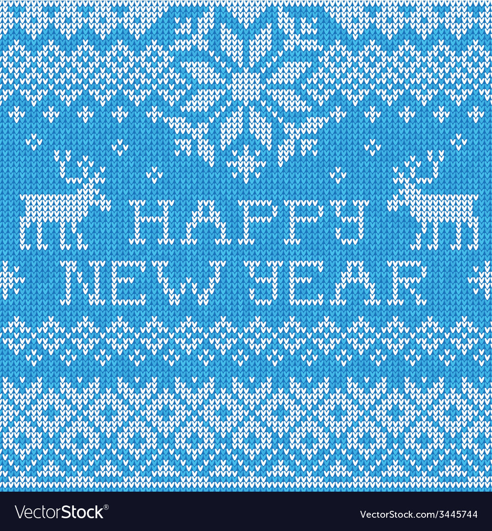 Happy new year scandinavian style seamless knitted vector | Price: 1 Credit (USD $1)