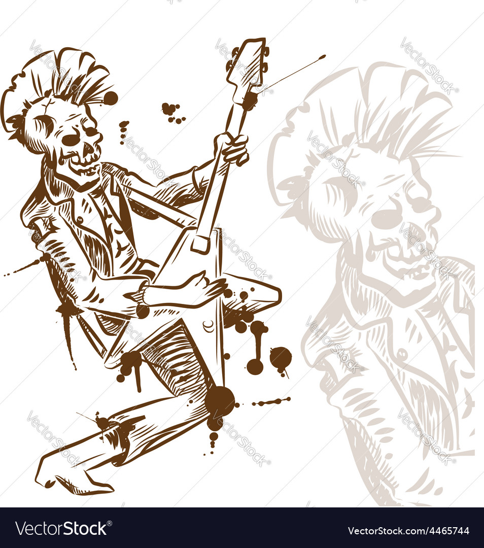 Punk rock guitarist hand draw vector | Price: 3 Credit (USD $3)