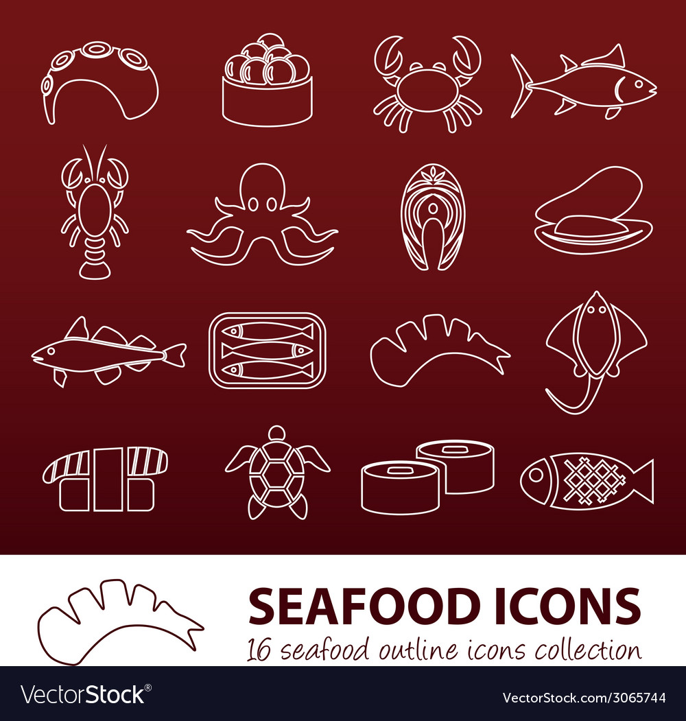 Seafood outline icons vector | Price: 1 Credit (USD $1)