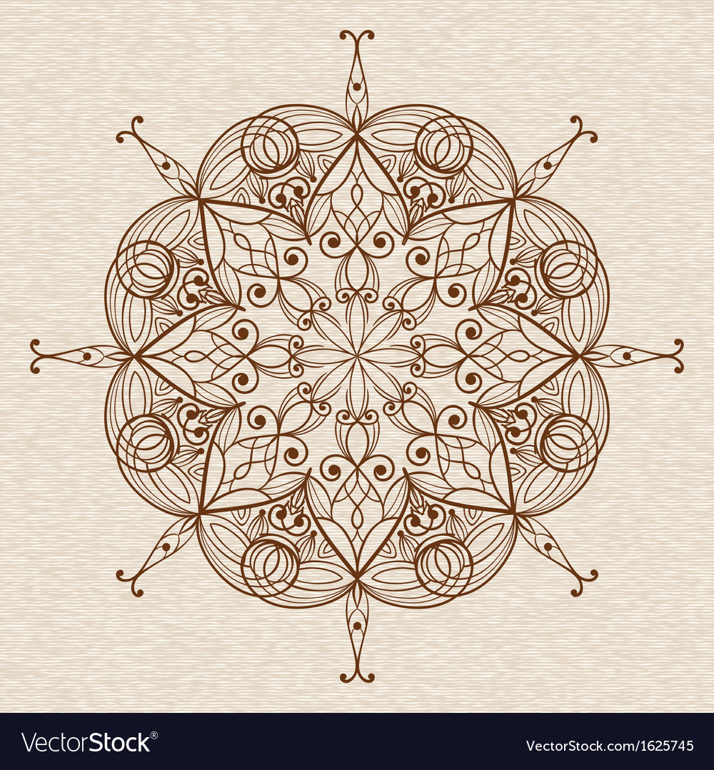 Circle abstract ethnic floral design element vector | Price: 1 Credit (USD $1)