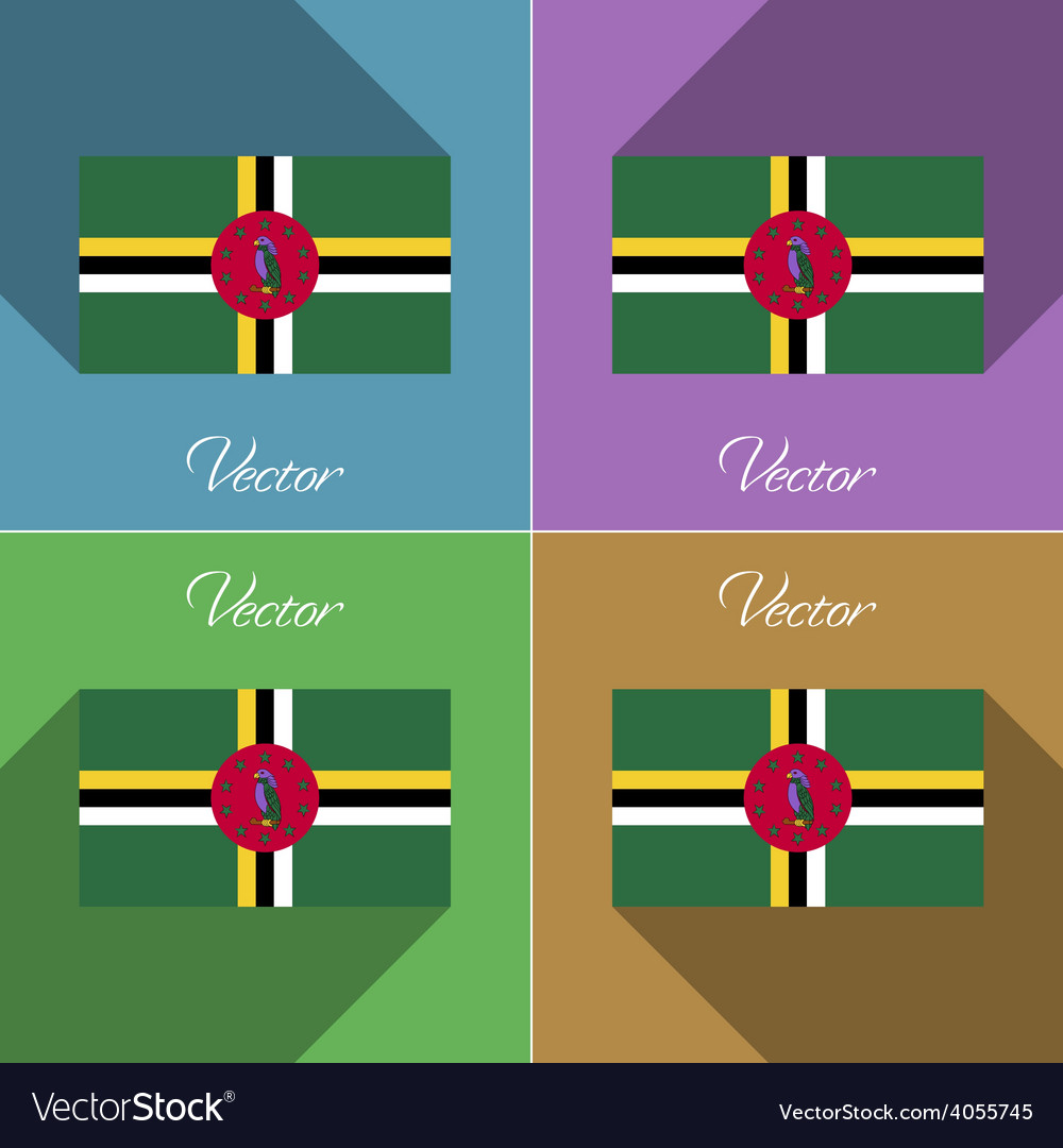 Flags dominica set of colors flat design and long vector | Price: 1 Credit (USD $1)