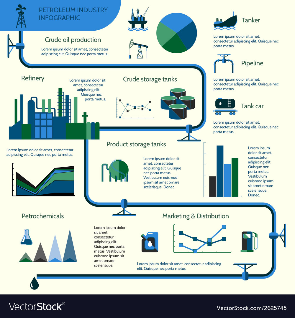 Oil production infographics vector | Price: 1 Credit (USD $1)