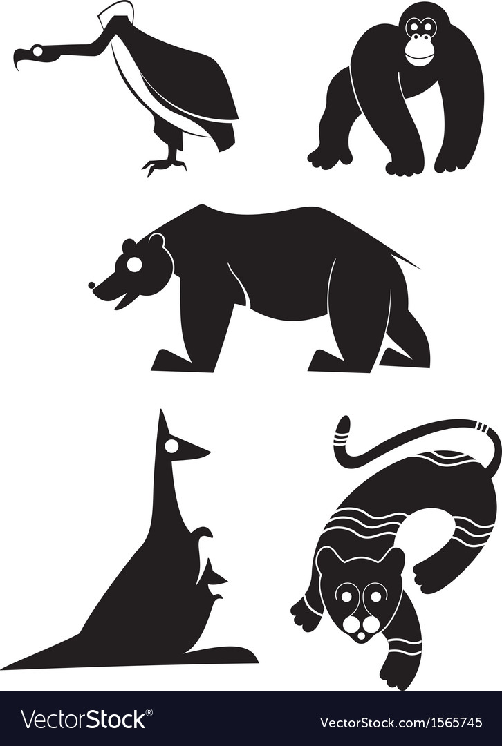 Original art animal silhouettes vector | Price: 1 Credit (USD $1)
