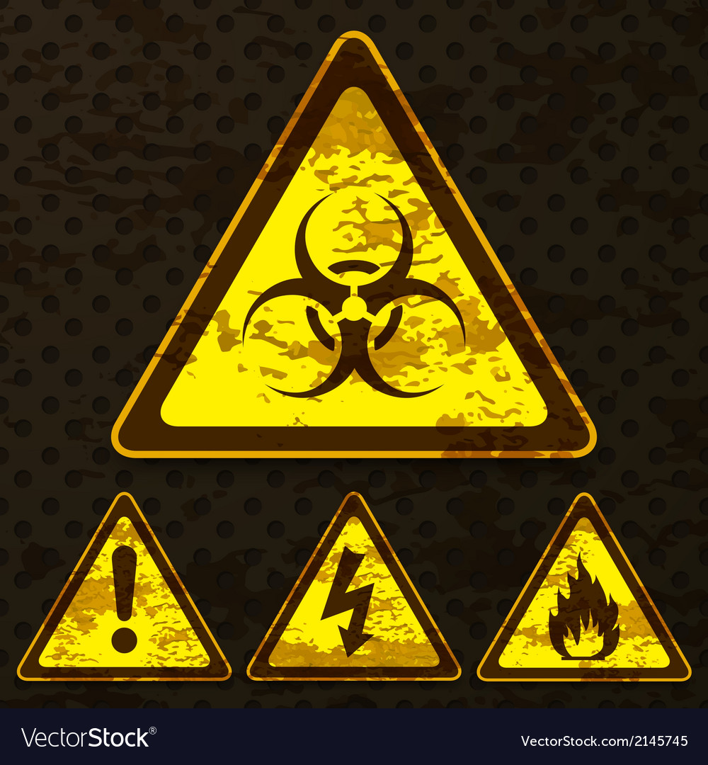 Set of grunge warning signs vector | Price: 1 Credit (USD $1)