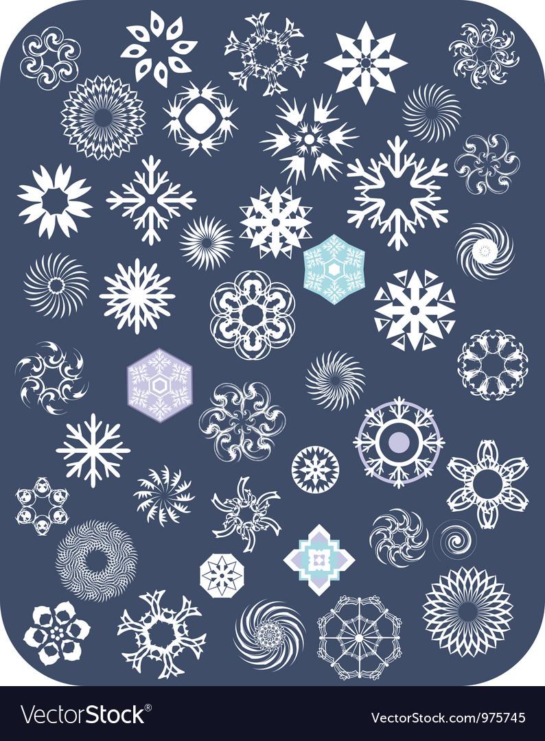 Snowflake white set vector   Price: 1 Credit (USD $1)