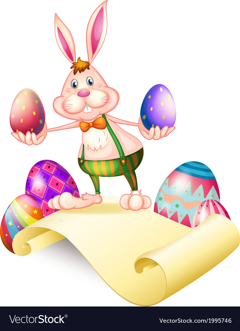 A rabbit holding two easter eggs vector | Price: 1 Credit (USD $1)