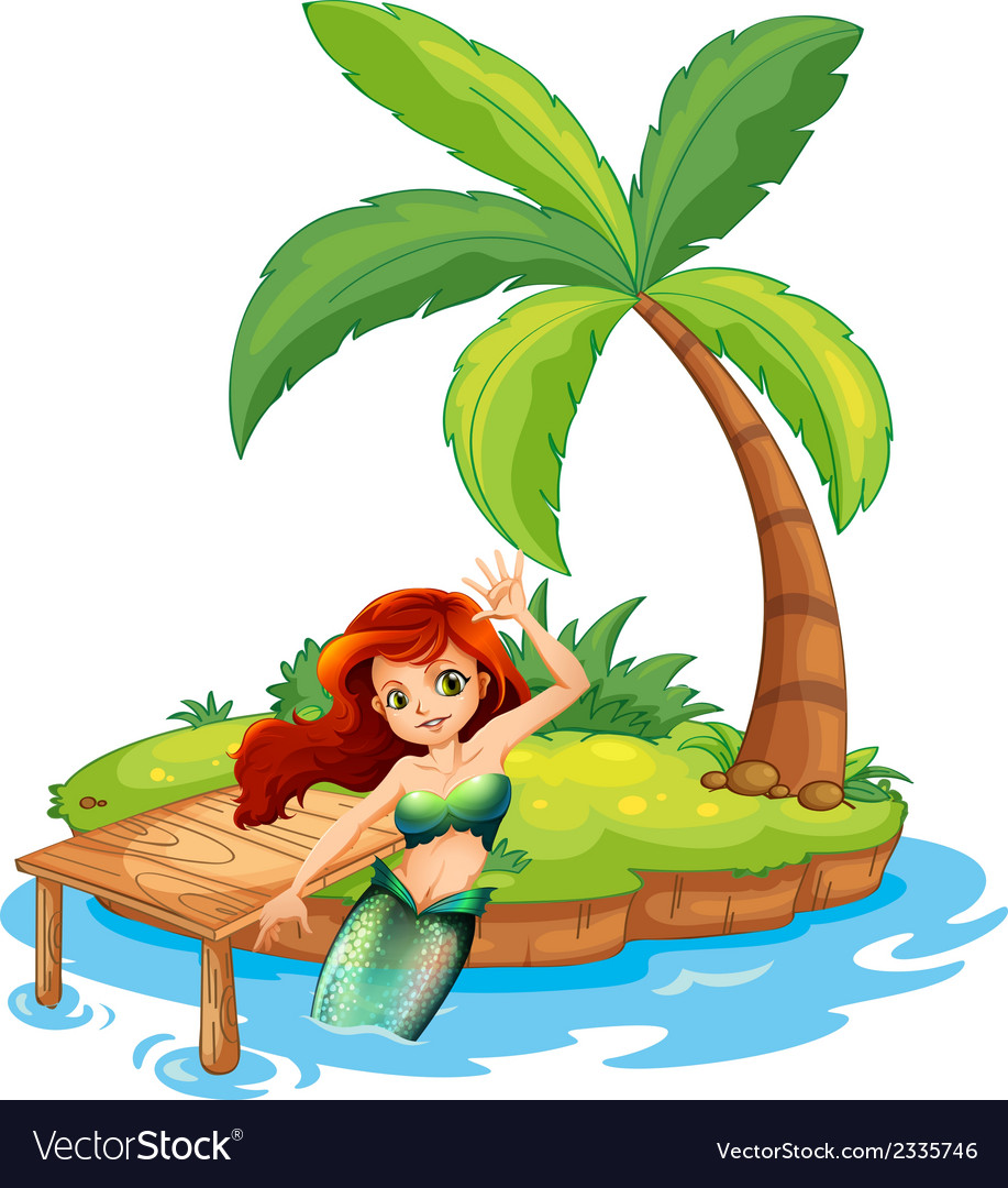 A young mermaid in the island vector | Price: 3 Credit (USD $3)