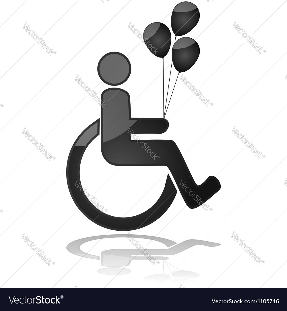 Child in wheelchair holding balloons vector | Price: 1 Credit (USD $1)