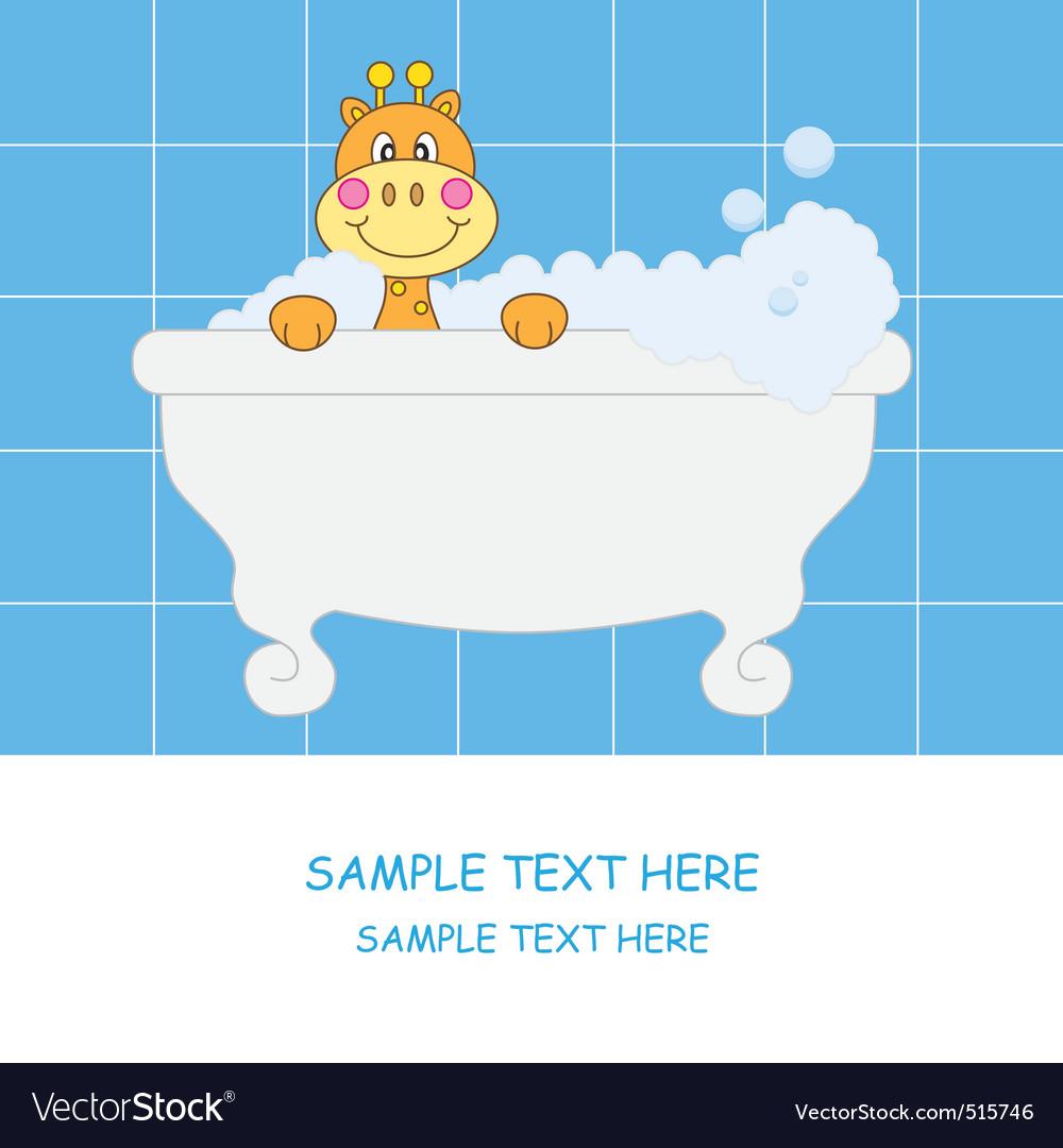 Giraffe bathing vector | Price: 1 Credit (USD $1)