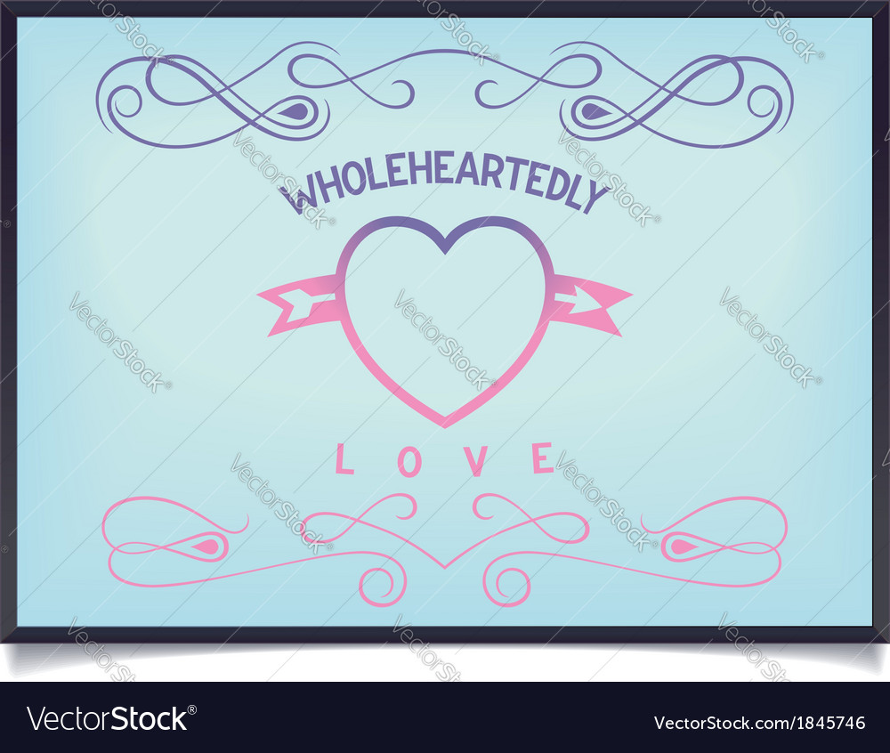 Heart with lettering and pattern vector | Price: 1 Credit (USD $1)
