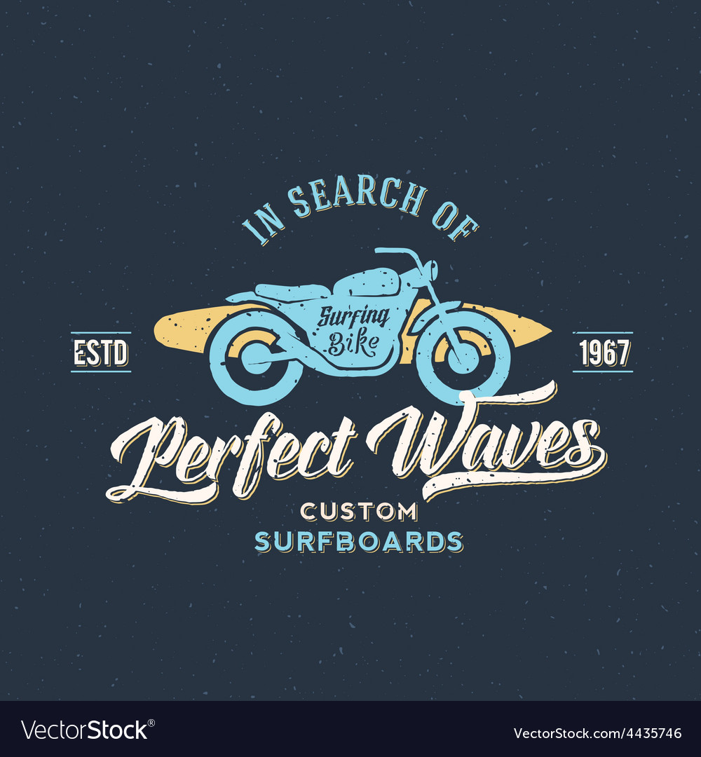 Perfect waves bike with surfboard abstract retro vector | Price: 1 Credit (USD $1)