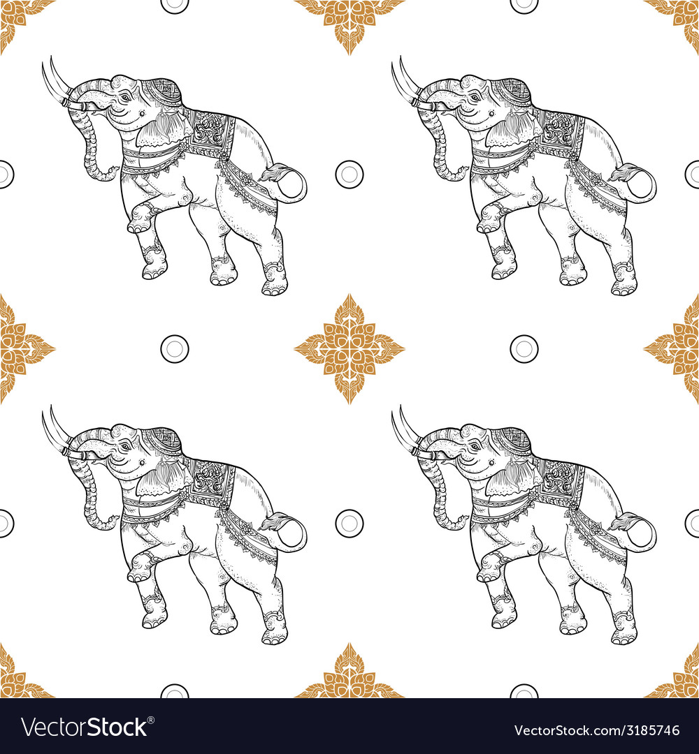 Seamless pattern background of white elephant vector | Price: 1 Credit (USD $1)
