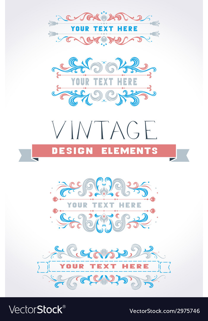 Set of vintage page decorations vector   Price: 1 Credit (USD $1)