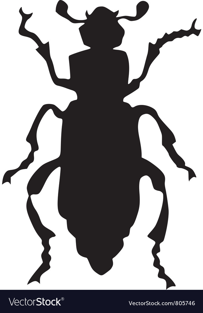 Silhouette of grave-digger beetle vector | Price: 1 Credit (USD $1)