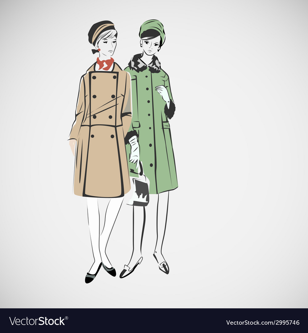 Sketch girls in fashion clothes eps vector   Price: 1 Credit (USD $1)