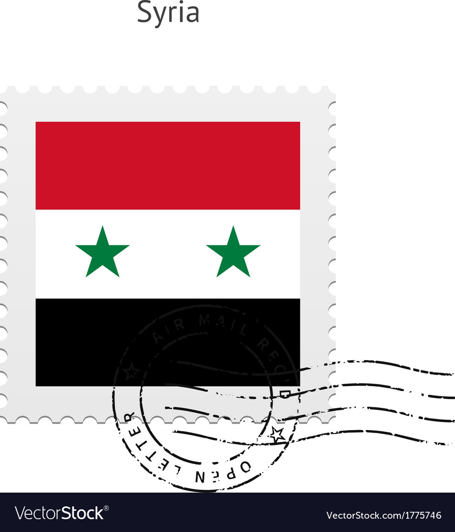 Syria flag postage stamp vector | Price: 1 Credit (USD $1)