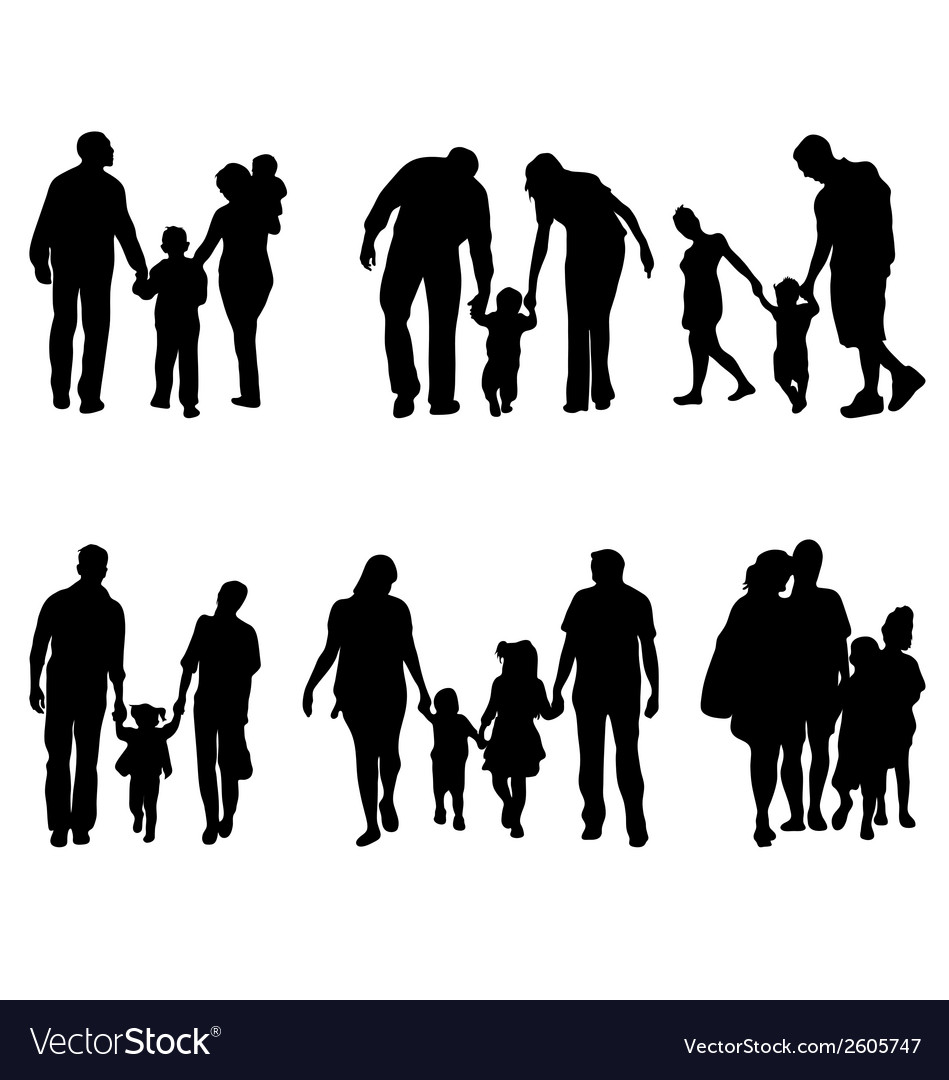 Families in walking vector | Price: 1 Credit (USD $1)