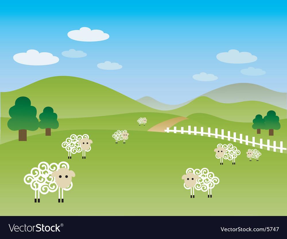Fields landscape illustration vector | Price: 1 Credit (USD $1)