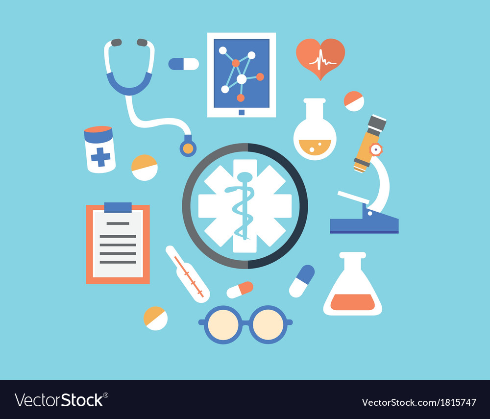 Flat abstract concept of medicine with emblem vector | Price: 1 Credit (USD $1)