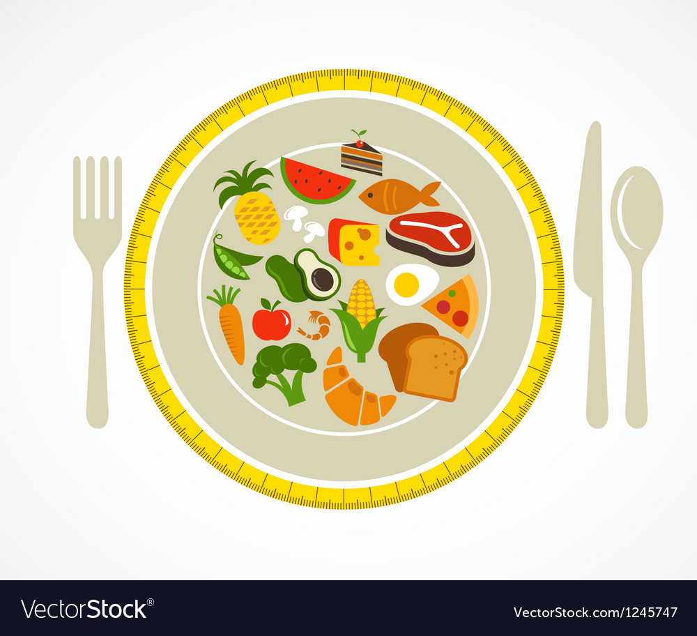 Health food plate vector | Price: 1 Credit (USD $1)