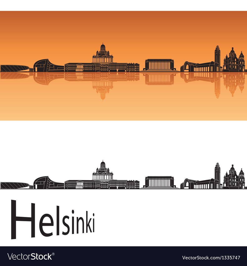 Helsinki skyline in orange background vector | Price: 1 Credit (USD $1)