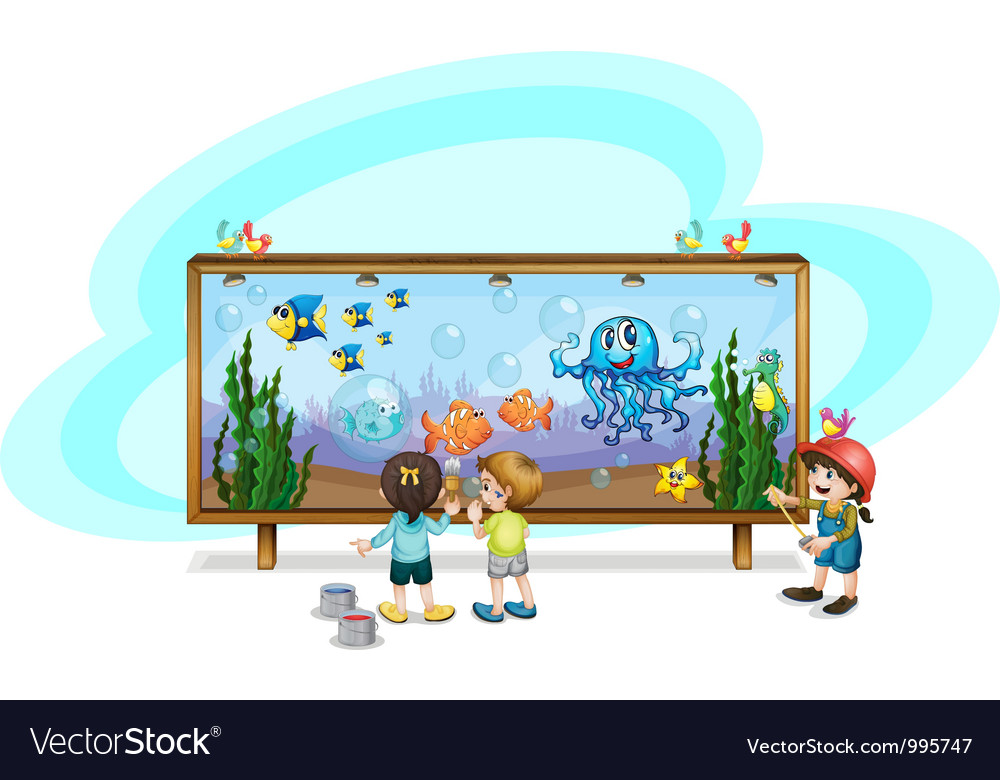 Kids painting an aqurium vector | Price: 3 Credit (USD $3)
