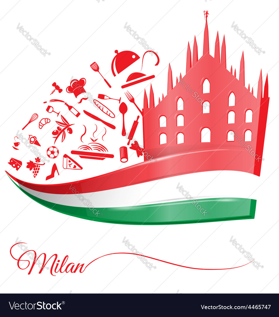 Milan cathedral with food element vector | Price: 1 Credit (USD $1)