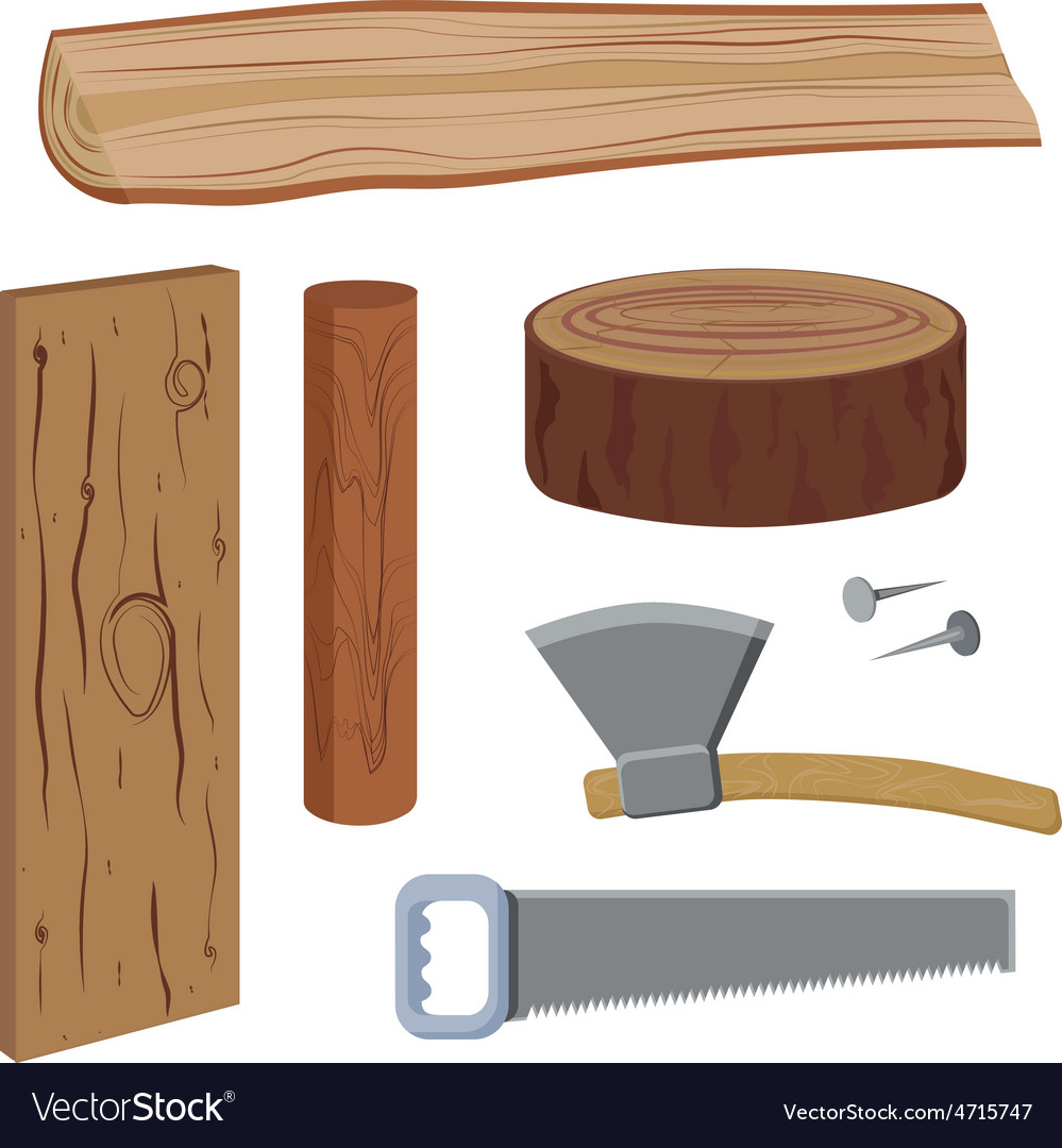 Set wood and tools vector | Price: 1 Credit (USD $1)