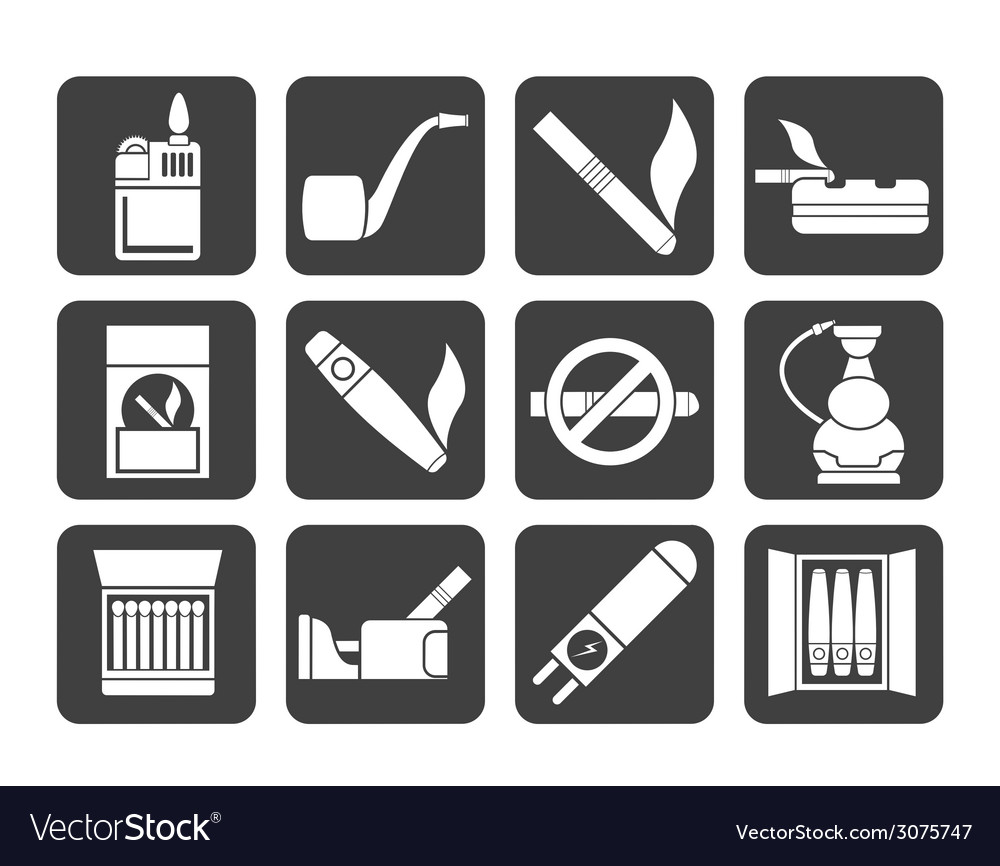 Silhouette smoking and cigarette icons vector | Price: 1 Credit (USD $1)