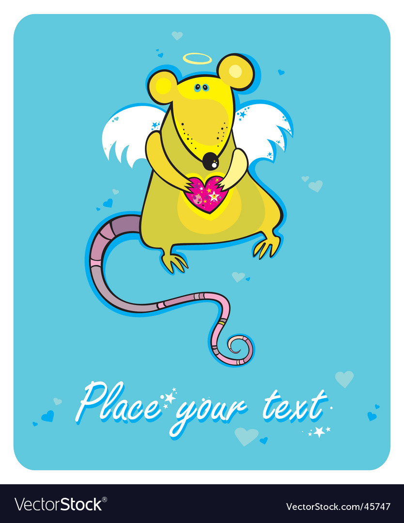 Valentine's day cupid rat vector | Price: 1 Credit (USD $1)
