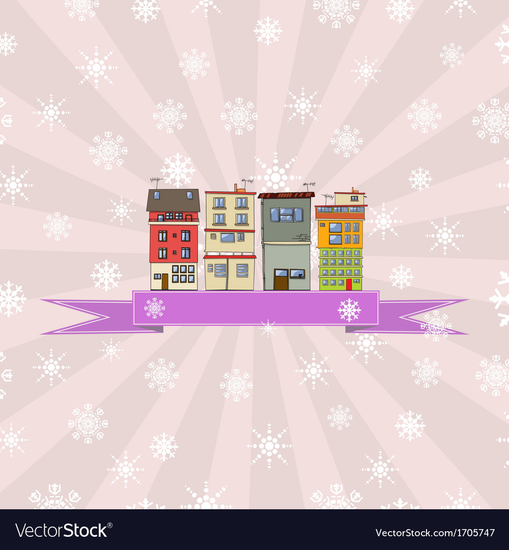 Winter holidays card with houses 4 vector | Price: 1 Credit (USD $1)