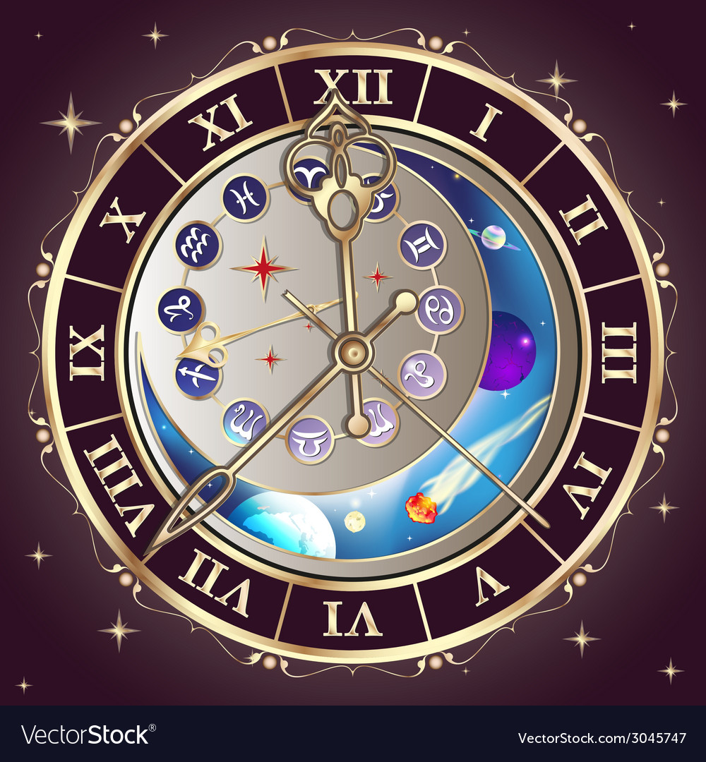 Zodiac signs astrological clock vector | Price: 1 Credit (USD $1)