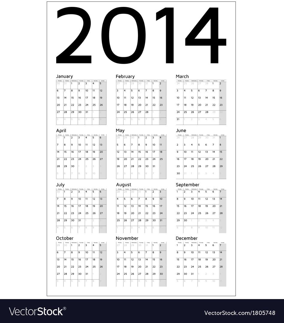 2014 year calendar vector | Price: 1 Credit (USD $1)