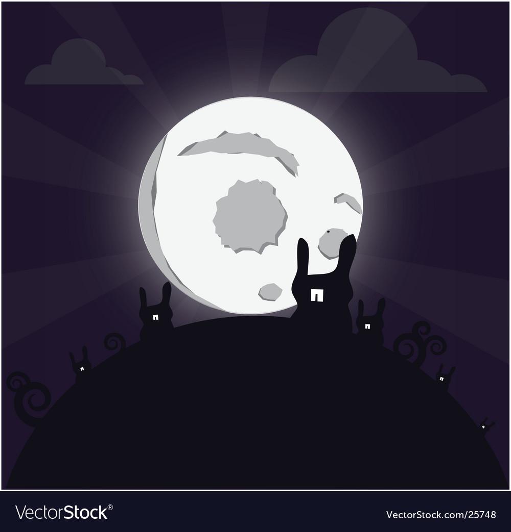 Bunny moon vector | Price: 1 Credit (USD $1)