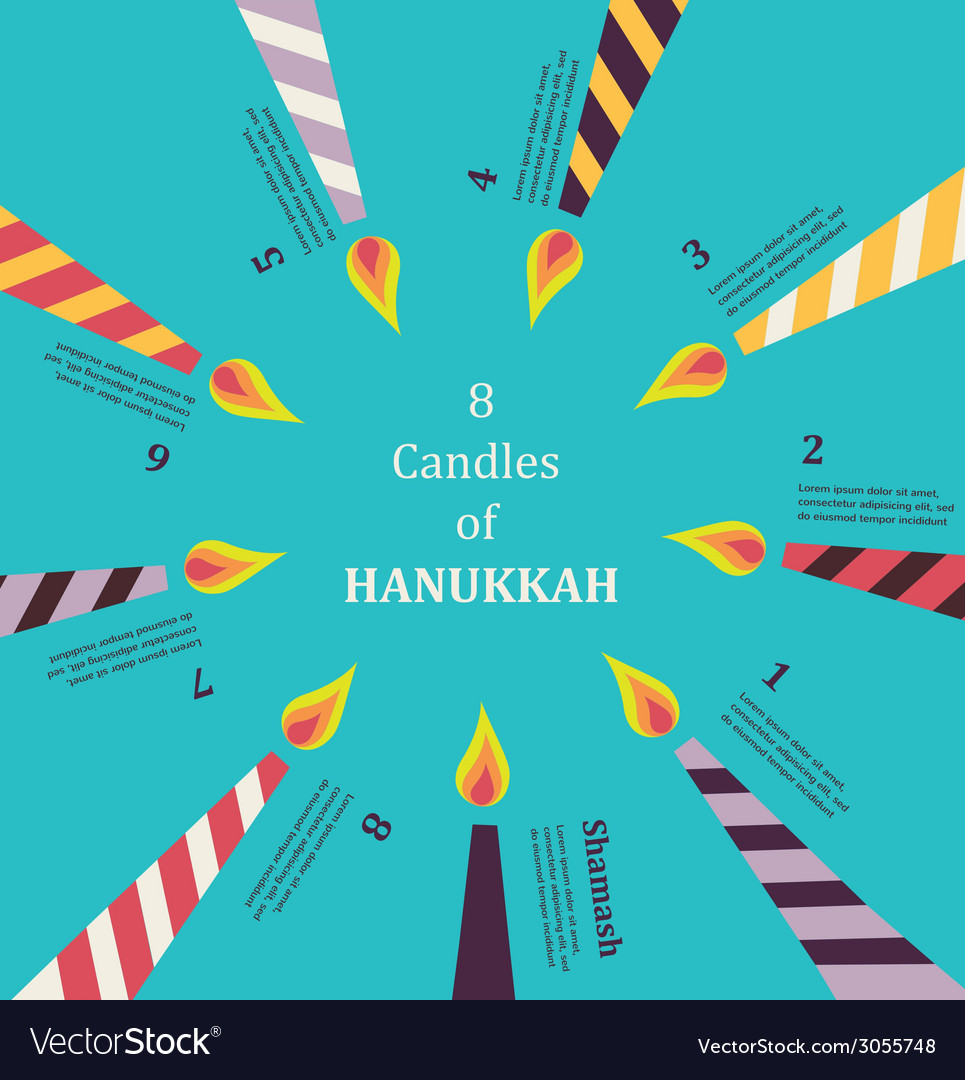 Eight candles for eight days of jewish holiday vector | Price: 1 Credit (USD $1)