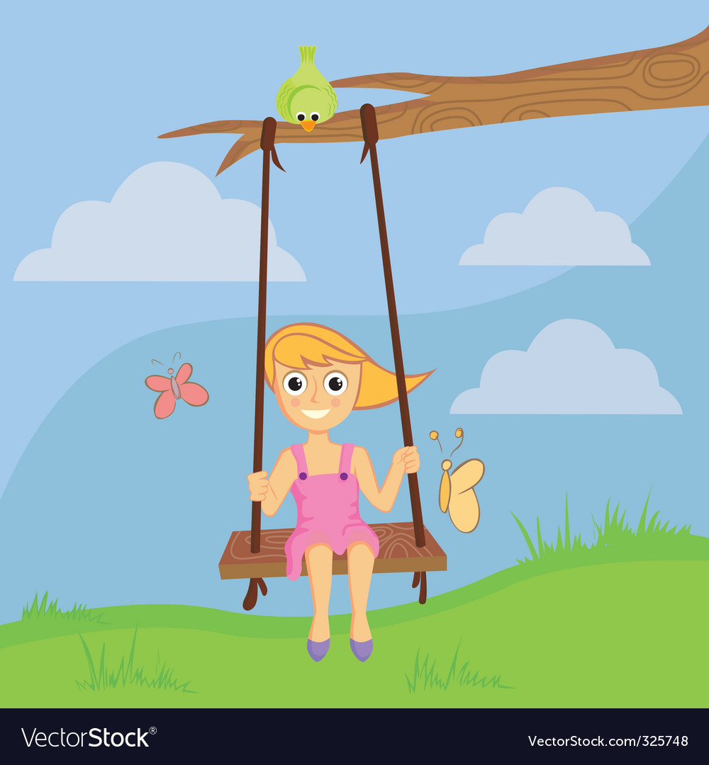 Girl swinging vector | Price: 1 Credit (USD $1)
