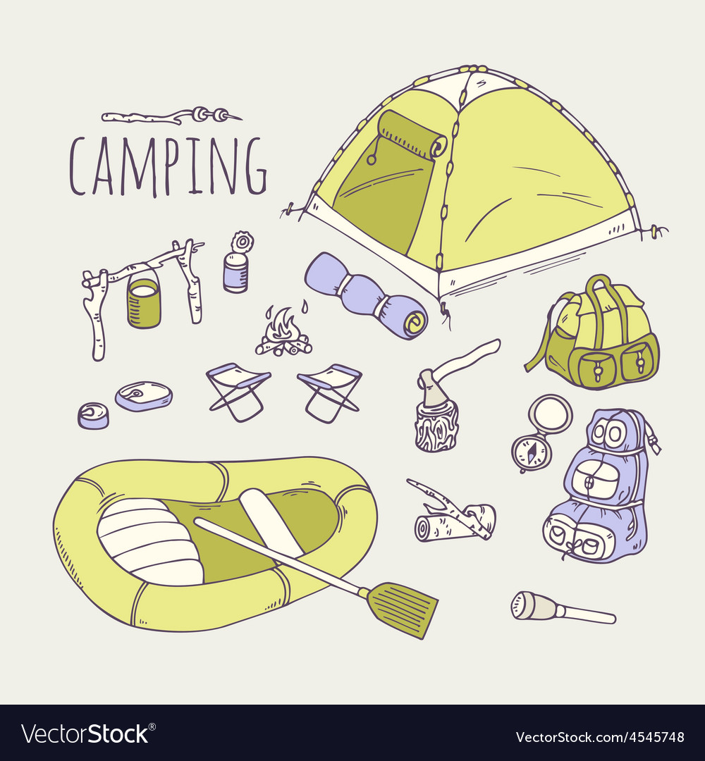 Hand drawn camping items collection vector | Price: 1 Credit (USD $1)