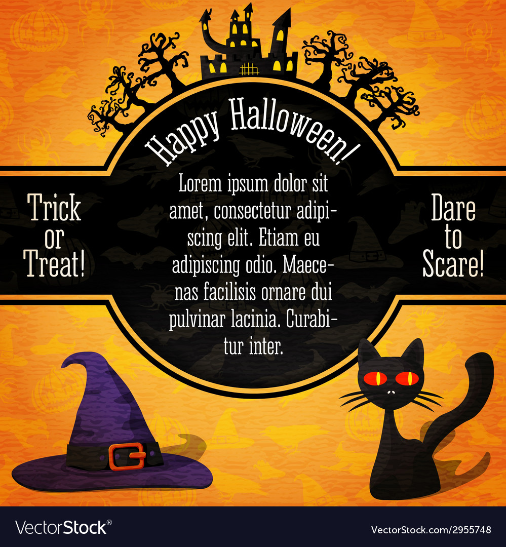 Happy halloween banner with greetings sample text vector | Price: 1 Credit (USD $1)