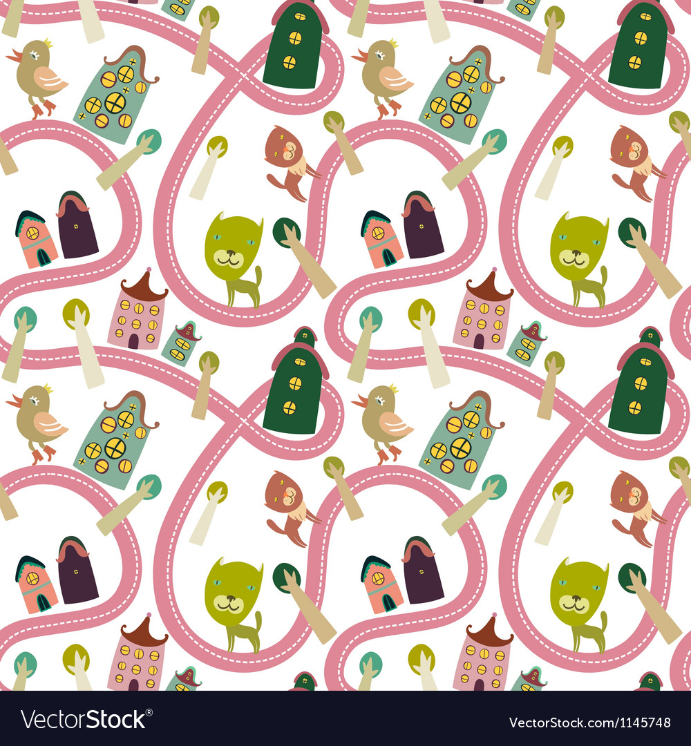Road seamless pattern with houses and animals vector | Price: 1 Credit (USD $1)
