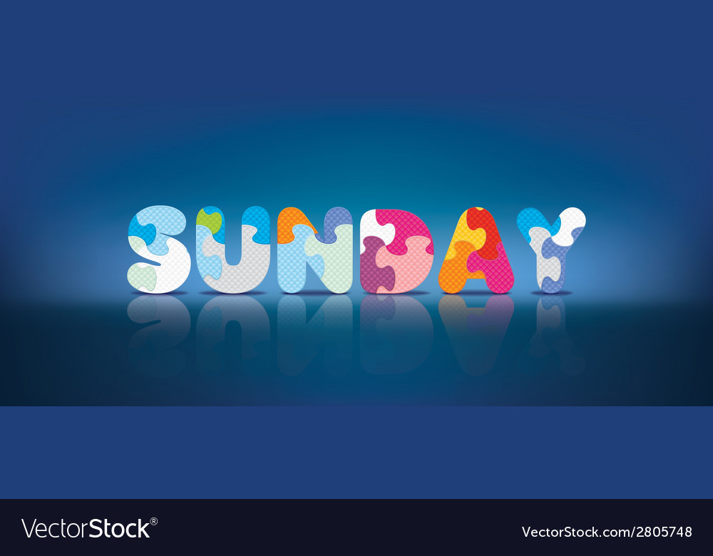 Sunday written with alphabet puzzle vector | Price: 1 Credit (USD $1)