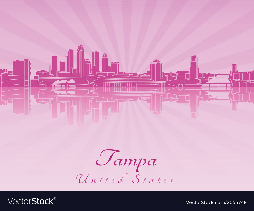 Tampa skyline in purple radiant orchid vector | Price: 1 Credit (USD $1)