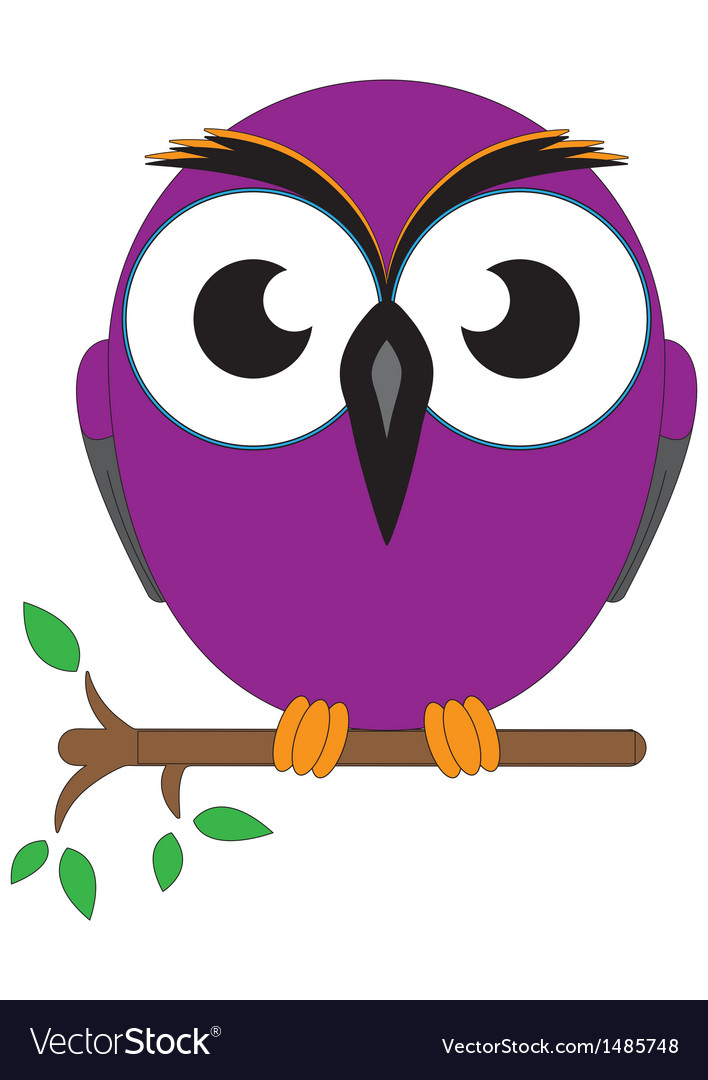 Wise old owl sat on a tree branch vector | Price: 1 Credit (USD $1)