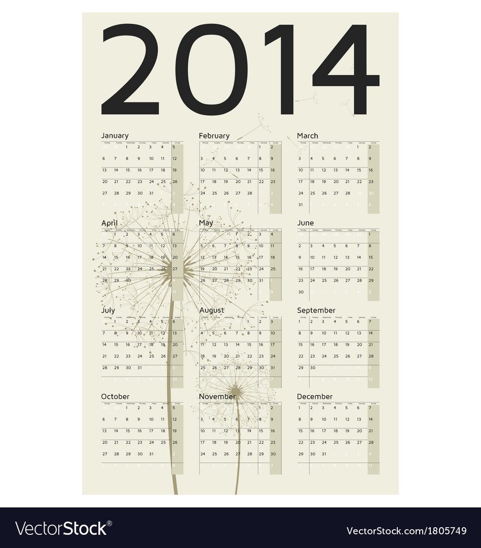 2014 year calendar vector | Price: 1 Credit (USD $1)
