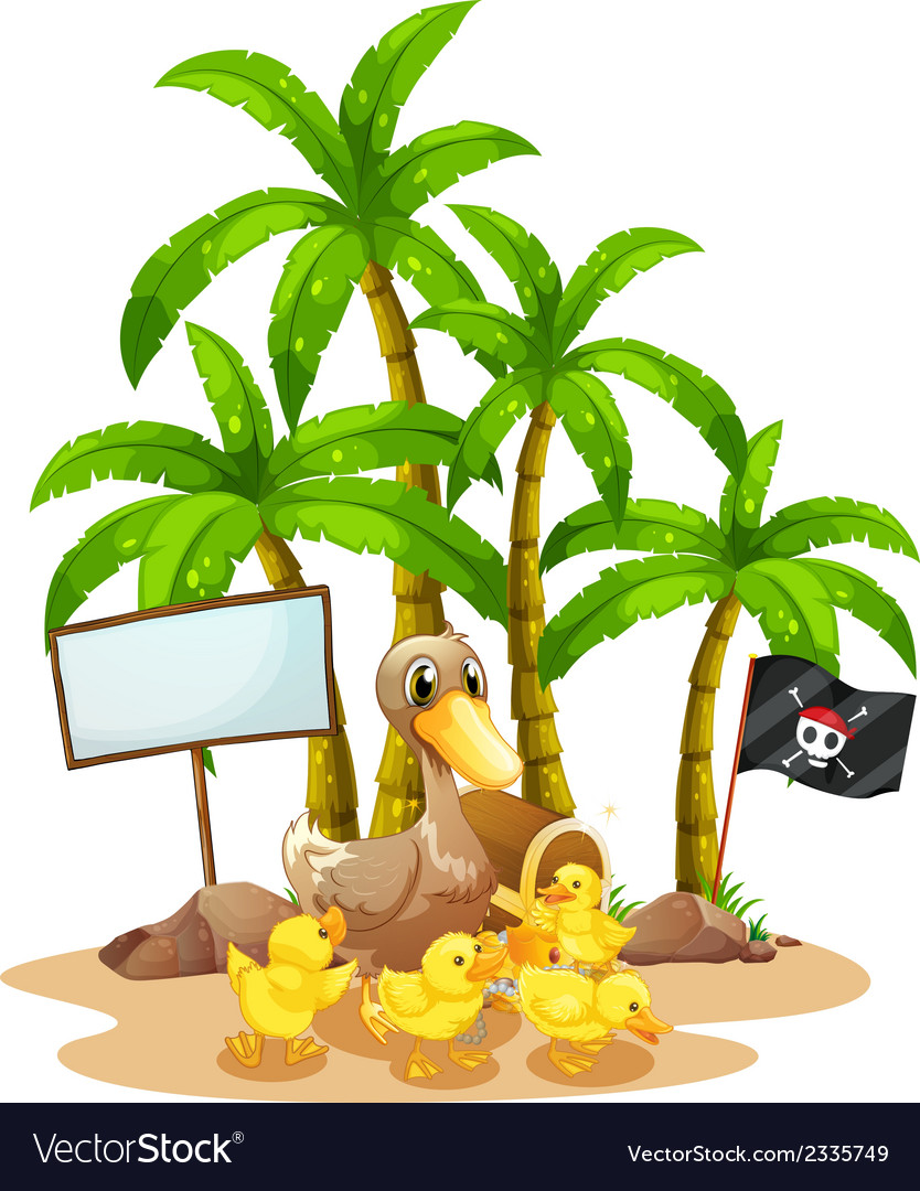 A duck and her ducklings near the signboard under vector | Price: 3 Credit (USD $3)