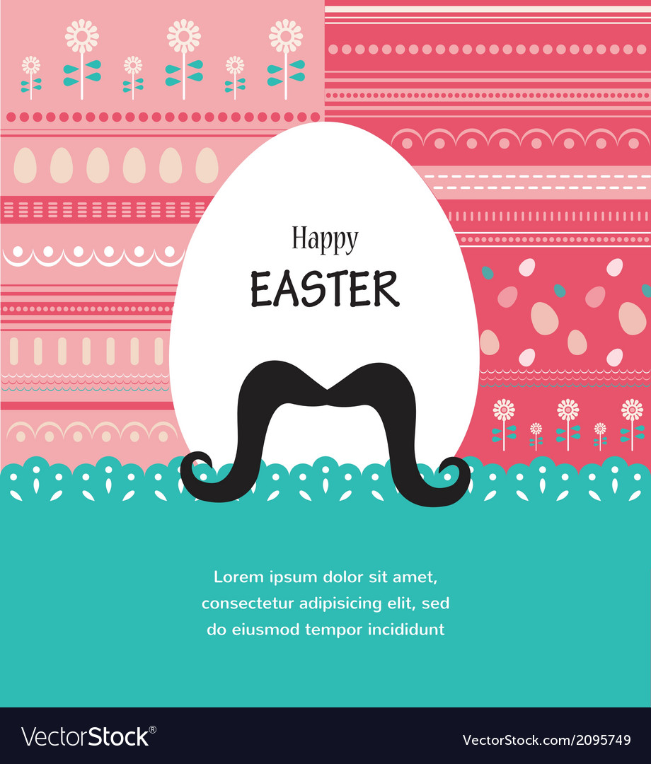 Background and greeting card with hipster easter vector | Price: 1 Credit (USD $1)