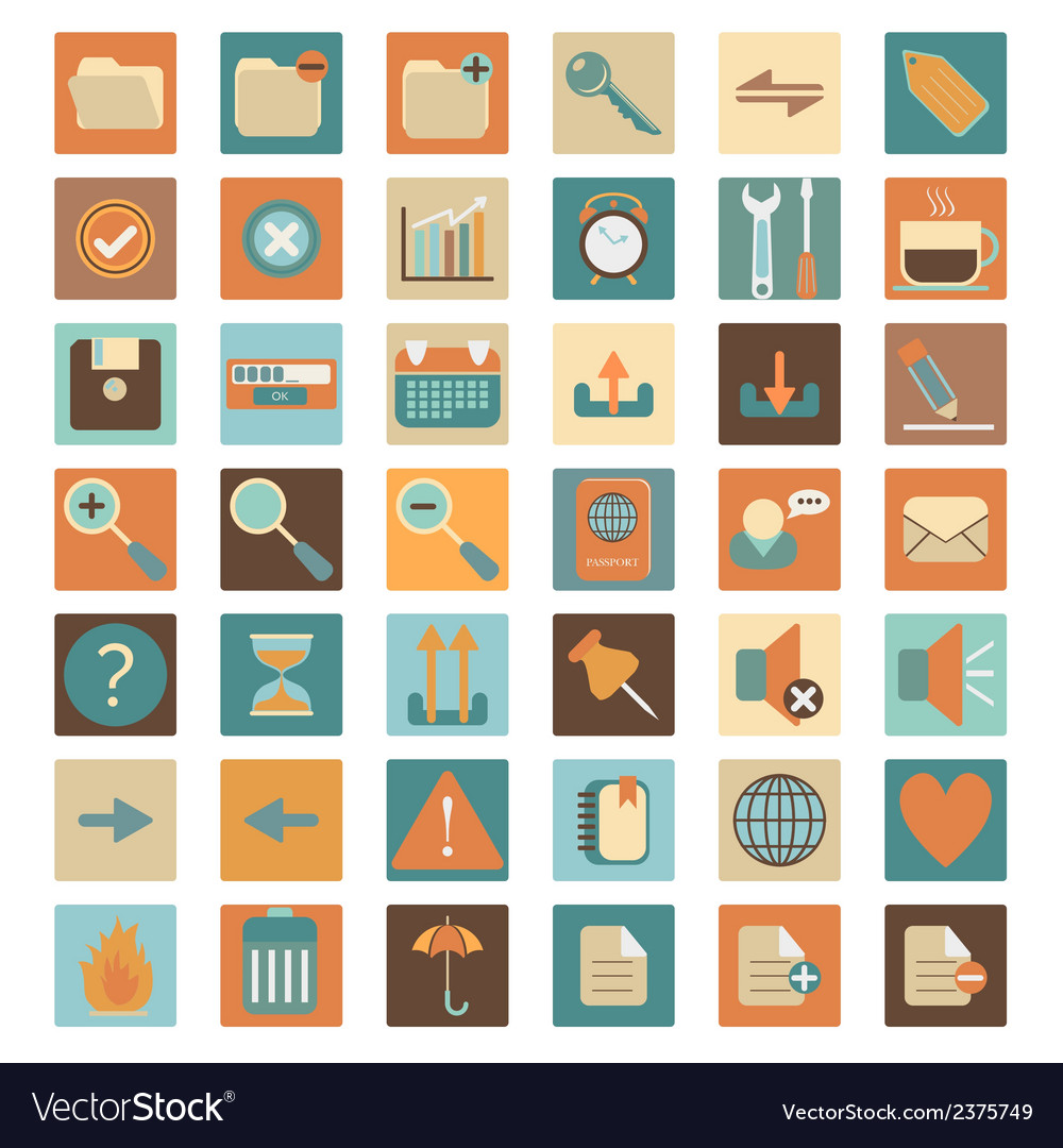 Basic flat web icon set vector | Price: 1 Credit (USD $1)