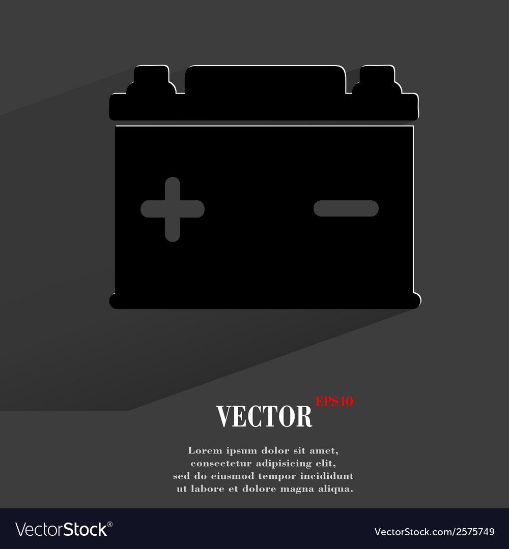 Car battery flat modern web button with long vector | Price: 1 Credit (USD $1)