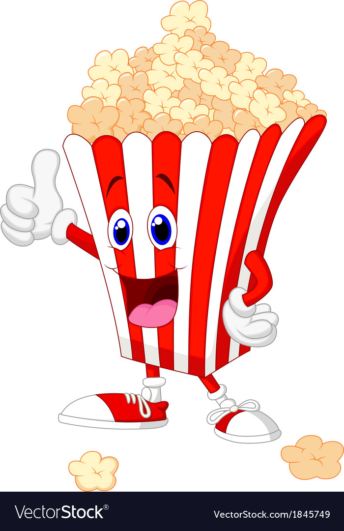 Cute popcorn cartoon with thumb up vector   Price: 1 Credit (USD $1)