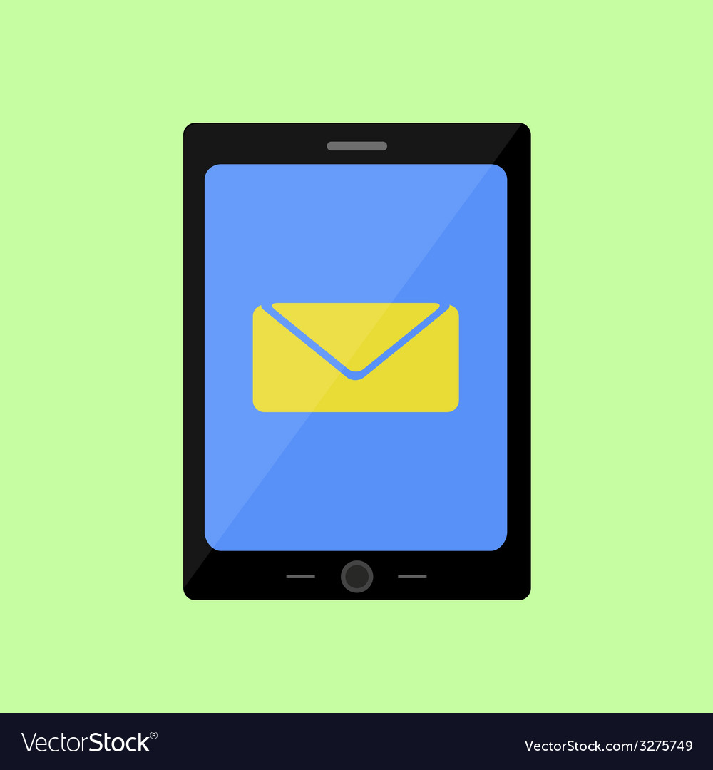 Flat style touch pad with mail vector | Price: 1 Credit (USD $1)