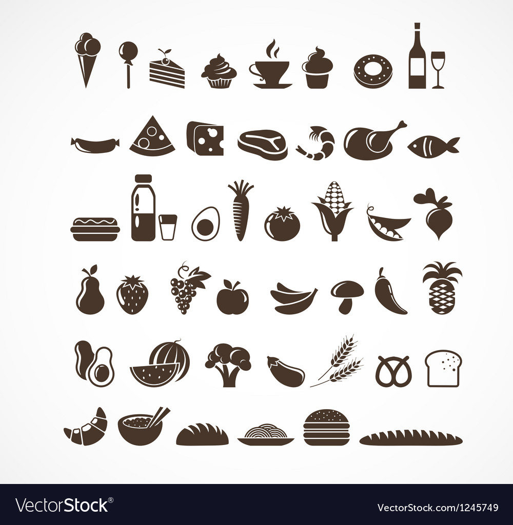 Food icons and elements vector | Price: 1 Credit (USD $1)